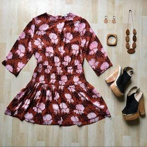 Ganni Monette Georgette dress in Brandy Brown 10